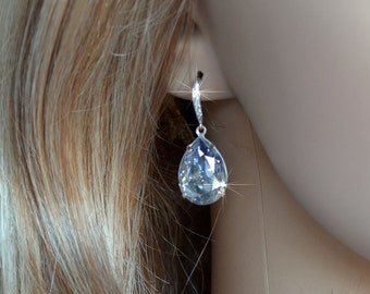 Handmade Swarovski Pale Blue Shade Pear Crystal Dangle Earrings, Bridal, Wedding (Sparkle-2646)