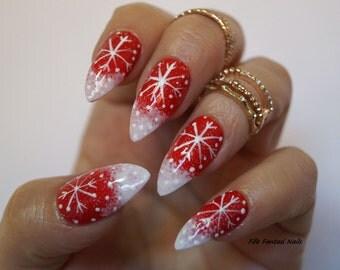 Holiday nails etsy christmas nails red xmas stiletto fake nails false nails acrylic nails nail prinsesfo Image collections