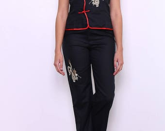 Set top and Capri pants embroidered golden dragon and Red detail