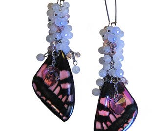 """The Butterfly Collection 2017 - """"Rosetta Morpho"""" Pink Butterfly Wing Crystal Cluster Swarovski Heart Earrings"""