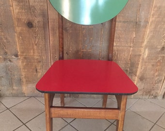 wooden chair * green-red * 1950ies * vintage * one of a child, more colorful Chair * wooden * 1950