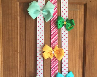 Adorable, handmade, painted, wooden initial hairbow or headband holder