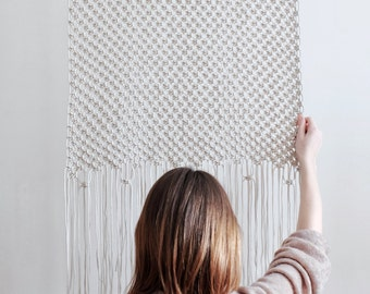 Minimalist Macrame Wall Hanging. Modern Macrame Wall Decor. Natural Color Macrame Curtain. Eco Home Decor. Bedroom Decor
