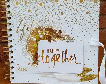 Happy Together Gold and White Wedding Guest Book / Scrapbook