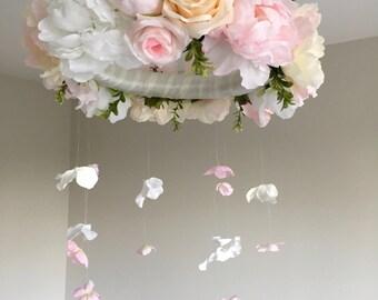 Pink, Peach, and White Custom Mobile, Baby Girl Nursery Decor, Baby Mobile, Baby Girl Mobile, Rose Mobile, Crib Mobile, Baby Shower Gift