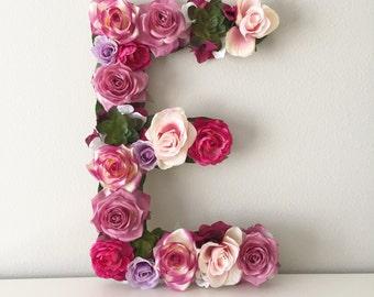 Large Floral Letter, Custom Flower Letter, Flower Monogram, Flower Initial, Nursery Letter, Baby Gift, Baby Shower Gift, Personalized Baby
