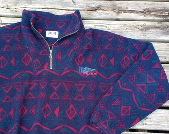 Sweet Fleece Pullover Vintage 90's Made in Canada Aztec Design Zip up XL