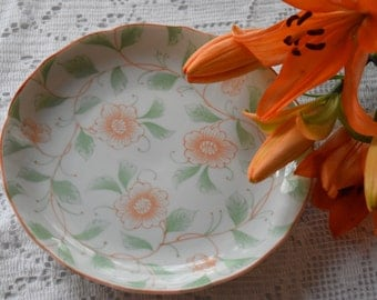 Orange flowers green leaves hand painted china plate.