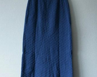 Knit maxi skirt Cornflower blue Winter ankle length skirt Ecological fashion Hip hugger skirt Knitted Vintage Finnish skirt Cotton skirt