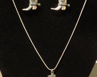 Cowgirl Boot Earring and Necklace Set