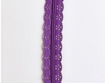 """Dark Purple Lace Zipper - Purple Zippers - 8"""" Zippers - Lace Zippers - Bag Zipper - Purse Zipper - Sewing Zippers - Sewing Notions - Zippers"""