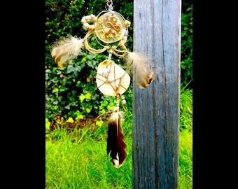 Dreamcatcher, Light catcher, talisman, Peridot, shell, infinity, quartz, boho, hemp,