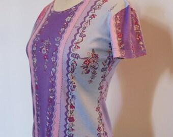 Vintage Emilio Pucci Purple & Pink Print T-Shirt - Small