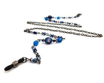 Blue Eyeglass Chain, Gunmetal, Eyeglass Holder Necklace, Beaded Lanyard, Sunglass Chain, Gift For Her, EC002