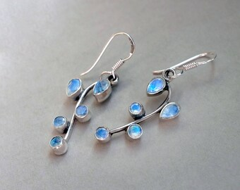 Rainbow Moonstone Branch Earrings, Moonstone Earrings, Leaf dangle Earrings, June Birthstone earrings, botanical earrings gifts for wife mom