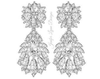 Rhinestone Bridal earrings, Wedding earrings, Crystal earrings, Chandelier earrings, CZ earrings, Bridal jewelry,Bridal Gown, Wedding Dress