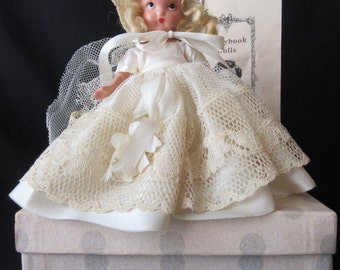 Nancy Ann Storybook Doll #86,Nancy Ann Storybook Doll Bride, Bisque Nancy Ann Storybook Bride Doll with Pamphlet in Box
