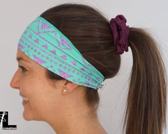 Purple triangle pattern green hair band