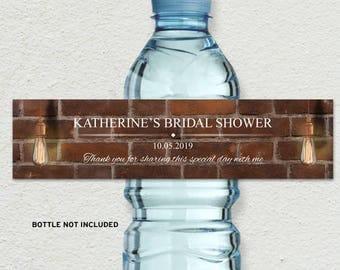 "Printable Vintage Edison Lightbulbs Industrial Chic Bottle Labels - Bridal Wedding Shower; 8"" x 2"" Labels - Editable PDF, Instant Download"