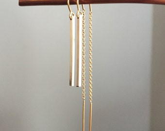 Yellow Gold Square Bar Dangle Threader Earrings with U-bar