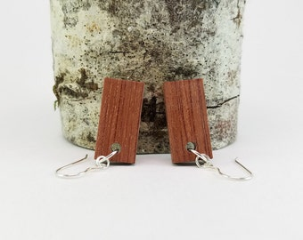 Short Rectangle Bubinga Wood Dangle Wooden Earrings