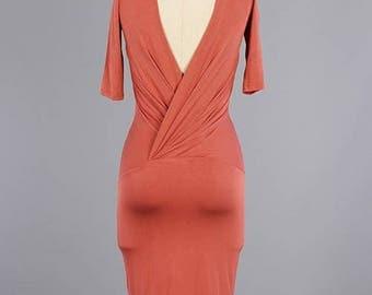 Open Back Short Sleeve Body-con Midi Dress/Custom Knit Wrap Back Classic Midi Body-con Dress/ ( + Colors )