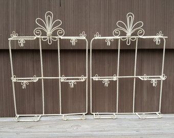 Wire Painted Wall Hanging Filigree Design with Hooks Display Hanging Cream Color with Faded Gold Brushing
