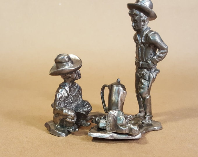 Featured listing image: Cowboy Figurine Cook and Gunslinger Around the Campfire Unknown Artist Detailed Action Figure Coffee Pot on the Fire Outdoor Scene