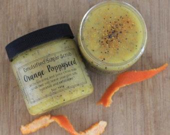 Orange Poppy Seed Sugar Scrub | Emulsified Sugar Scrub | Body Scrub | Exfoliating Scrub | Body Polish | Essential Oil Scrub | Orange Scrub