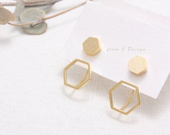 Hexagon Front and Back Stud Earrings/  Honeycomb Ear Jackets