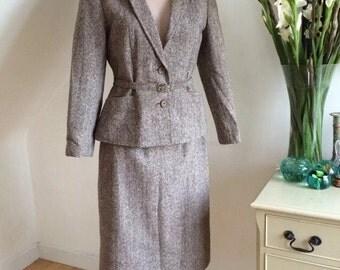 Vintage 70s Country Lady Wool Suit Peplum Belted Jacket Pencil Skirt Unworn Retro