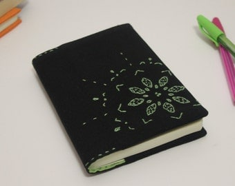 Black and green embroidered notebook cover, fabric book cover, fabric journal, a6 notebook, floral journal cover, gift for women