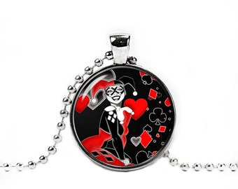 Harley Quinn Necklace Pendant Harley Quinn Geeky Jewelry Cosplay Fangirl Fanboy