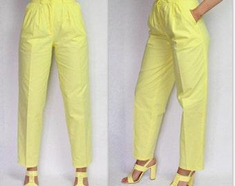 Vintage Yellow Pants Women's High Waist Trousers Pleated Tapered Leg Pants Summer Cotton Pants Medium Size