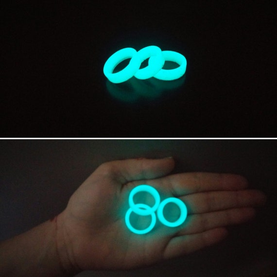 Aqua blue glow in the dark resin ring glowing jewelry unique for Glow in the dark resin