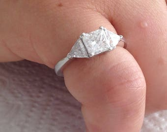 Certified 1.70 CT Princess Cut and Round Cut Diamond engagement Ring 14k white gold  hand made
