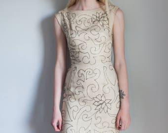 Vintage 1960s Creme Beaded Pencil Dress