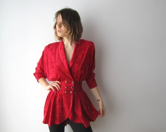 Vintage Red Velvet Jacket Red Velvet Cardigan Small to Medium Size Womens Evening Jacket Tuxedo Style Cardigan Marching Band Jacket