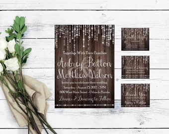 Rustic Wood Invitations- Rustic Wedding Suite- DIY Invitation Suite-Rustic Wood Invite-Rustic Wedding Invitations-Country Wedding Invitation