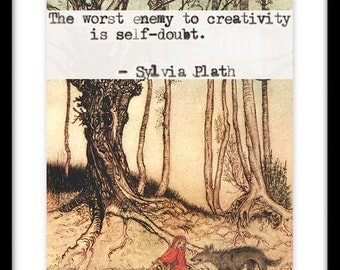 Little Red Riding Hood Vintage Print, Sylvia Plath Quote, Creativity Quote,