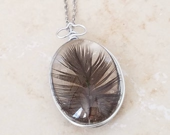 Black Feather Glass Pendant / Necklace