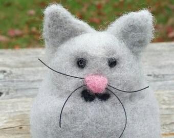 Small, Grey, Needle Felted Kitten