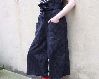 Pin Stripe Paperbag high Waist Tie Trousers