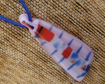 "Glass Pendant, Pink Fused Glass Pendant with 16.5 inch Blue Faux Suede Cord+2""extender, Handmade Fused Glass Pendant, Gold Plated Fits"