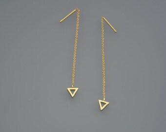 ZOUX069 minimalist earrings graph triangle - chain 925 gold silver ear wire