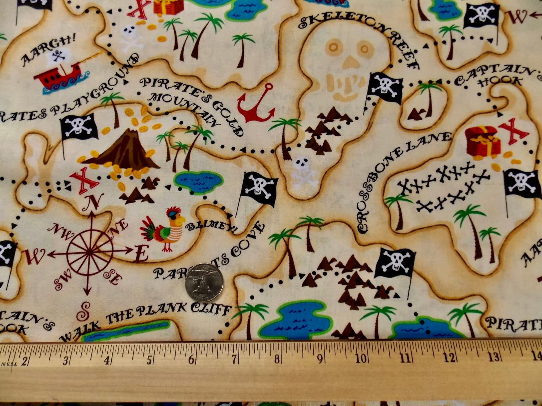 Pirate fabric pirates map fabric kids fabric pillow fabric for Kids pirate fabric