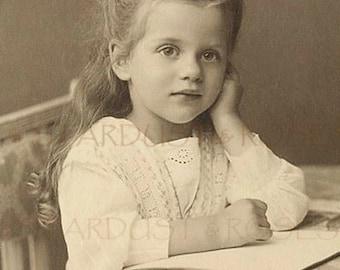Sweet VICTORIAN GIRL DOWNLOAD Vintage Sepia Photo - Instant Digital Antique Print - Photograph Junk Journal Scrapbooking Altered Art no1226