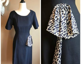 Vintage 1960s Navy and White Dress with Kick Pleat and Bow  // Deadstock Jackie O Classic Dress Navy Rockabilly Midcentury Navy Dress Wool