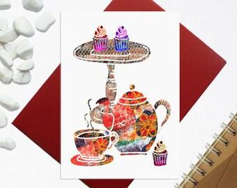 High tea card - Card for tea lovers - Tea Party card - kitchen design - High tea illustration - Tea and cakes card - kitchen wall decor