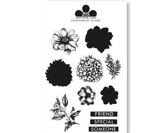 Blooms - A6 Clear Stamp Set from Craftwork Cards - Birds & Blooms range